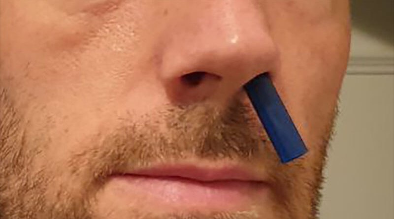 He implants a straw into his nose so he can do cocaine without needing a bill